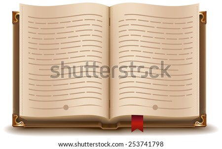 Open book with text and red bookmark. Illustration in vector format - stock vector