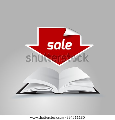 open book with text ebooks sale - space for text  - stock vector