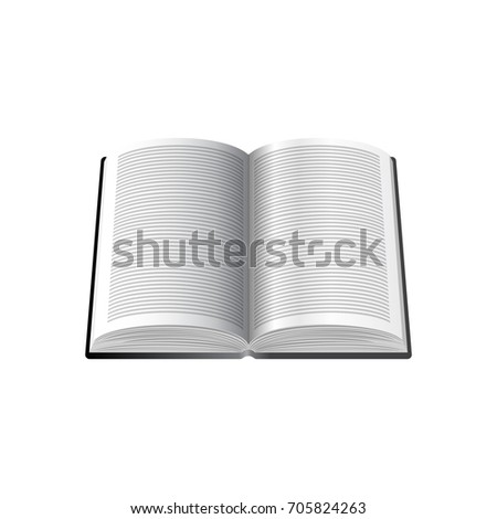 Open Book with text on white Pages Isolated on white Background. Web Icon. Vector Illustration.