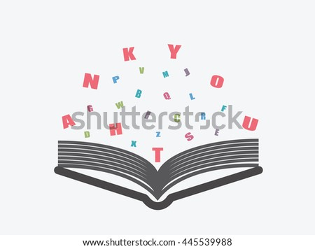 Open book with thank you alphabets, characters or letters on white background.