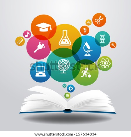 Open books and icons of science. The concept of modern education, File is saved in AI10 EPS version. This illustration contains a transparency  - stock vector