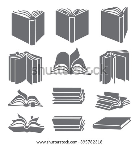 Open books in different positions. Black icons. Smartly grouped, isolated on white.