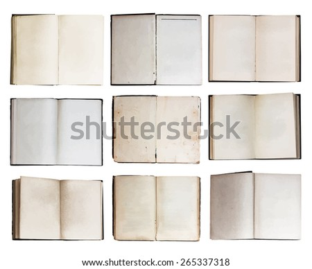 open books set, vector - stock vector