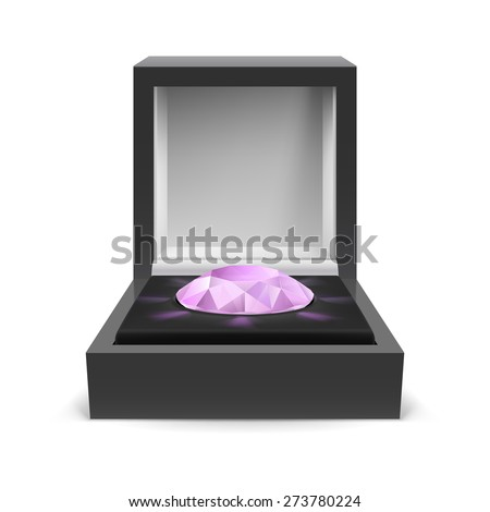 Open box for jewelry with diamond inside on white background - stock vector