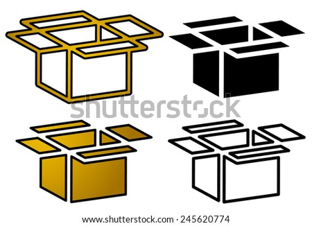Open box icons for packaging, logistics or shipment concepts. Cardboard, paperboard boxes. Editable vector. - stock vector
