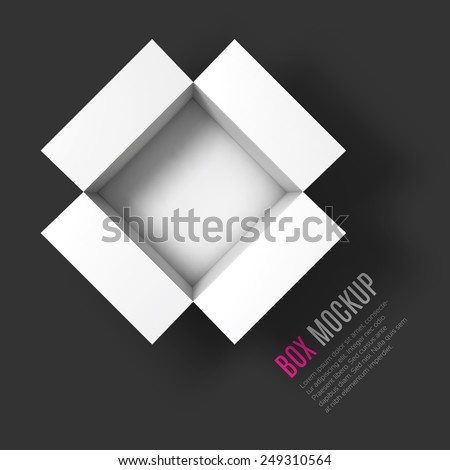 Open box mockup template. Top view. Vector Illustration EPS10 - stock vector