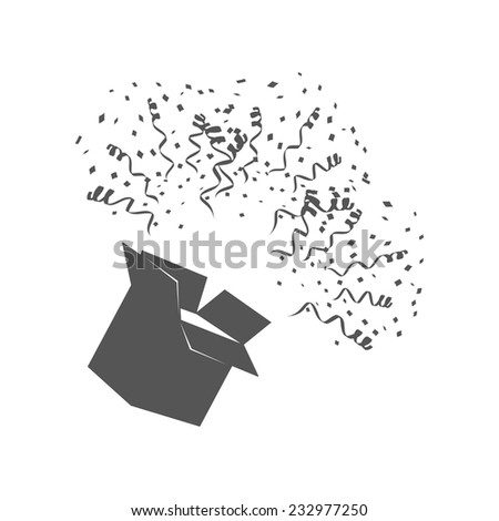Open Box With confetti on white background vector illustration - stock vector