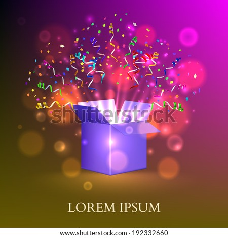 Open Box With fireworks from confetti. Vector - stock vector