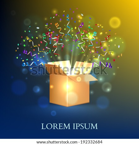 Open Box With fireworks from confetti. Vector