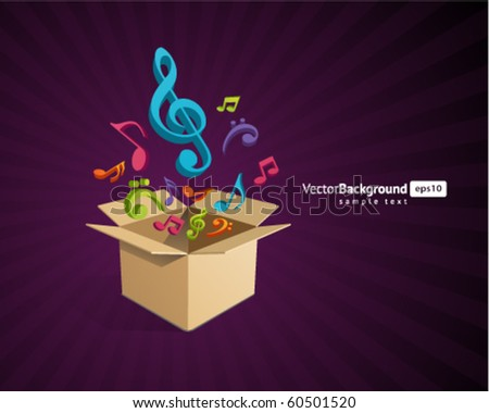 Open box with fly 3d colorful music notes vector background