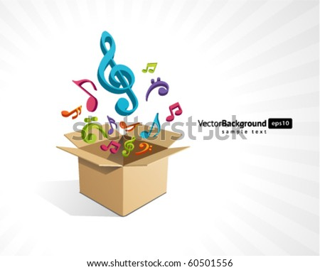 Open box with fly 3d colorful music notes vector background - stock vector