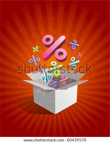 Open box with fly 3d colorful percent vector background - stock vector