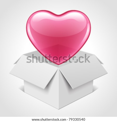 Open box with heart vector illustration. Eps 10.