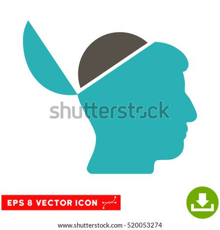 Open Brain EPS vector pictogram. Illustration style is flat iconic bicolor grey and cyan symbol on white background.