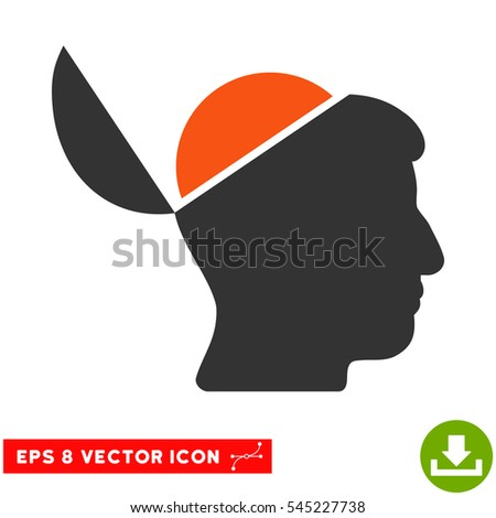 Open Brain EPS vector pictogram. Illustration style is flat iconic bicolor orange and gray symbol on white background.