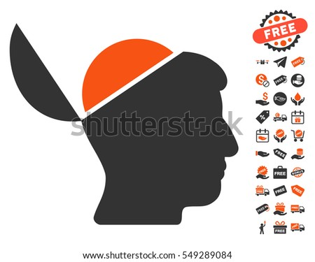 Open Brain icon with free bonus pictograph collection. Vector illustration style is flat iconic symbols, orange and gray colors, white background.