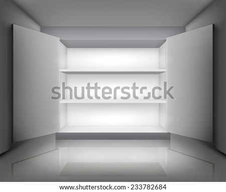 Open cabinet. Vector illustration. - stock vector