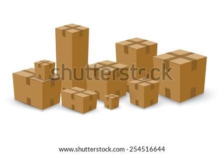 Open card board brown box set - stock vector