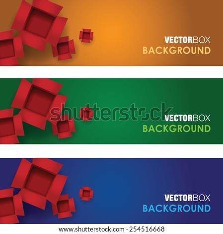 Open card board colourful box banner sets - stock vector