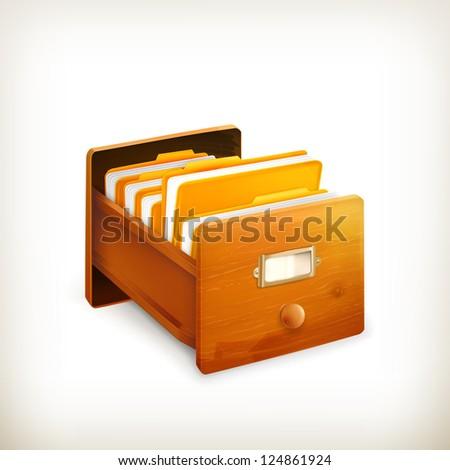 Open card catalog, vector - stock vector