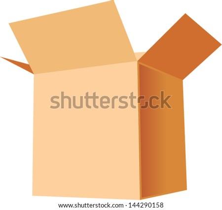 open cardboard box - stock vector