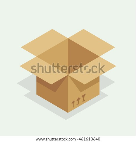 Open cardboard box. Simple, flat style. Graphic vector illustration.