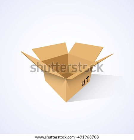 Open cardboard box, vector illustration, isolated