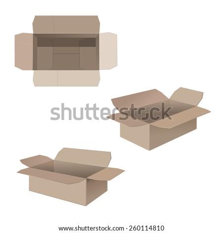 Open cardboard boxes - stock vector