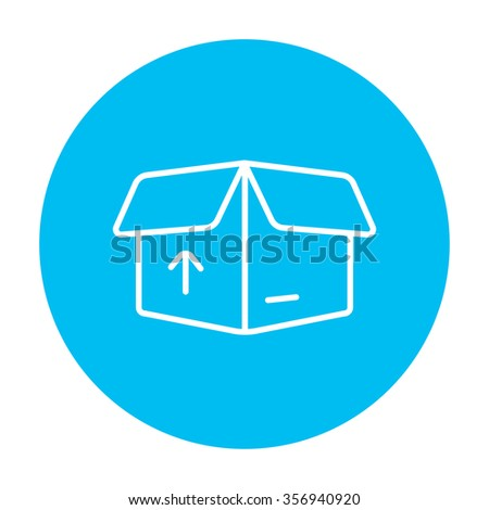 Open carton package box with arrow up line icon for web, mobile and infographics. Vector white icon on the light blue circle isolated on white background. - stock vector