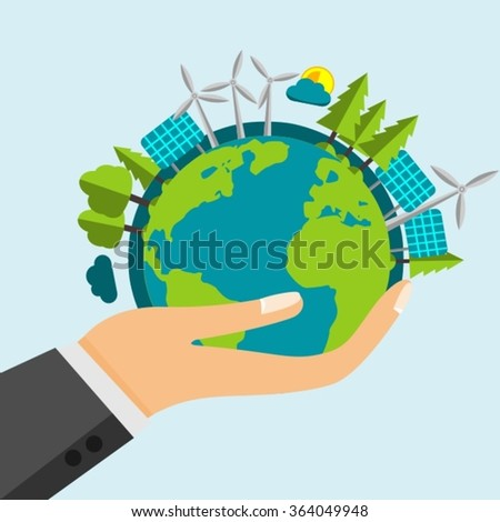 Open Cartoon Hand Holding The Planet Earth Filled With Green Nature And Renewable Energy Sources - Windmills and Solar Panels - stock vector