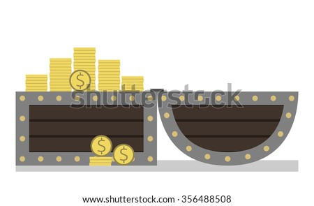 Open chest full of golden dollar coins. Treasure, a lot of money isolated on white background. Side view. EPS 8 vector illustration, no transparency - stock vector
