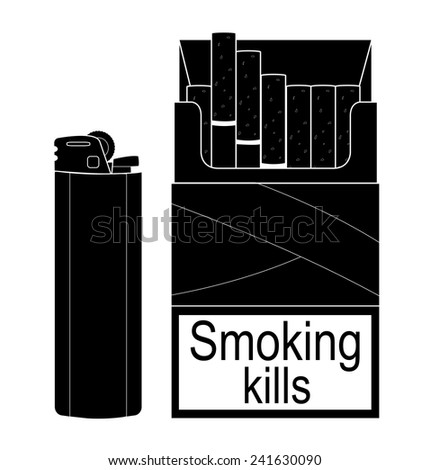 Open cigarettes pack with disposable gas lighter. Black and white illustration isolated - stock vector