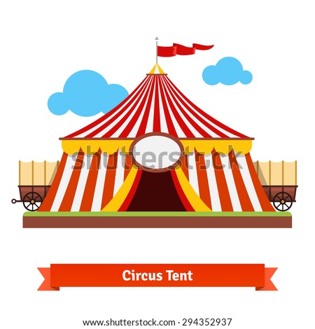 Open circus striped tent with wagon wheel in the back. Flat vector illustration isolated on white.