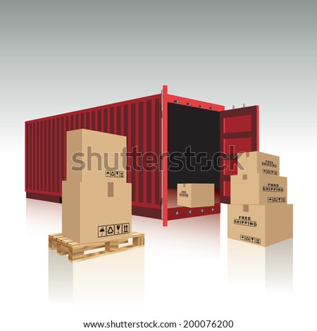 Open container with cardboard boxes. Vector illustration - stock vector