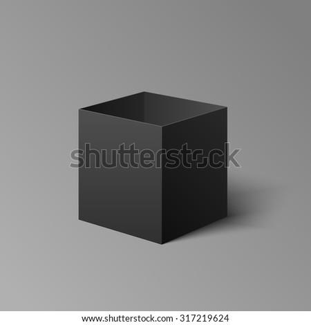 Open dark box mockup template for your design.  - stock vector