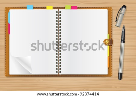 open diary and a pen on office table - stock vector