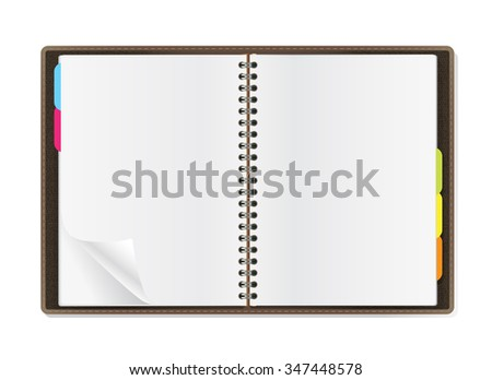 open diary pages on white background - stock vector