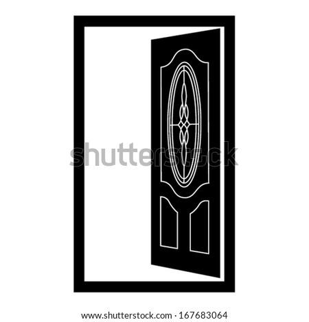 OPEN DOOR, DECORATIVE DOOR - stock vector