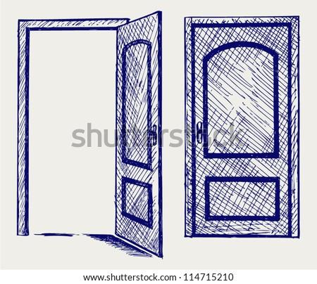 Open door. Doodle style - stock vector