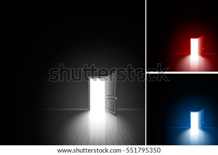 Open Door In A Dark Room Bright Light Outside