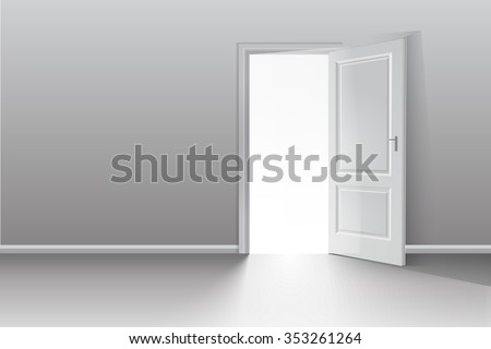 Open door in a white room with the outgoing light. Chromatic image. Vector background - stock vector