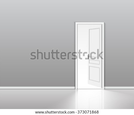 Open door in a white room with the outgoing light. Chromatic image. Vector background