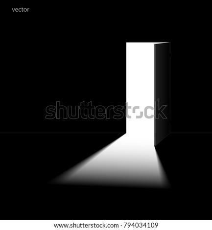 Open Door Dark Room Vector Illustration Stock Vector 794034109
