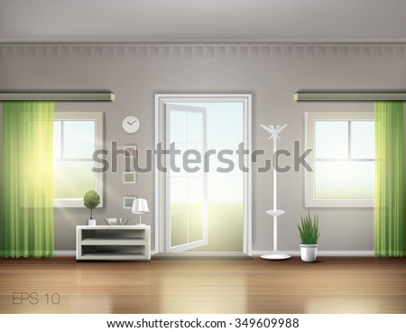 Open door in nice cozy home with green translucent curtains on sunny spring day. Vector graphic - stock vector