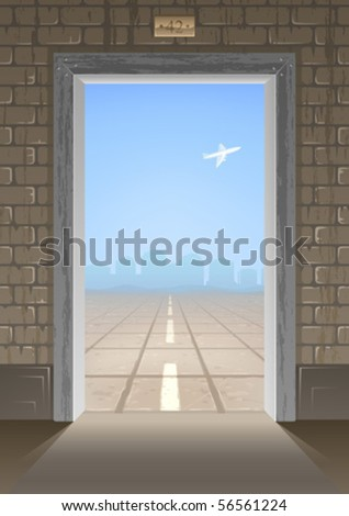 Open door leading to the center of an emty airport runway with an airplane flying in the distance (AI-optimized EPS 8 file, non-cropped version of the background airport view is in my gallery)