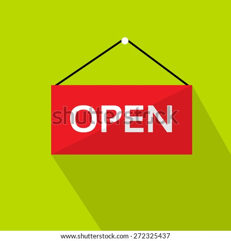Open Door Text Sign Red Shop Label over Green Background Flat Vector Illustration