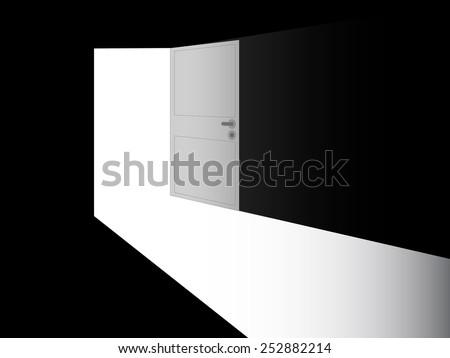 Open door to a dark room - stock vector