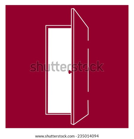 Open door - vector illustration - symbol of opportunity, freedom and new way - stock vector