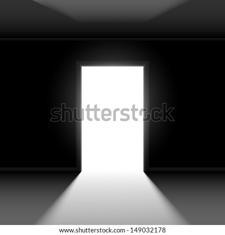 Open Door Dark Room Light Outside Stock Illustration 87834799