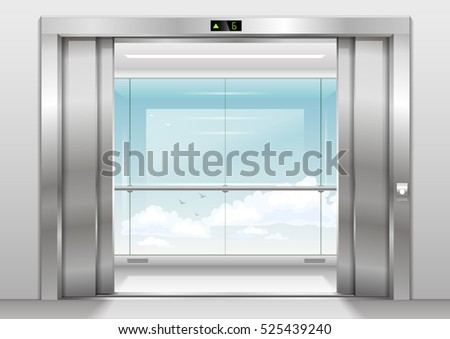 Open Doors Panoramic Elevator Glass Wall Stock Vector Hd Royalty